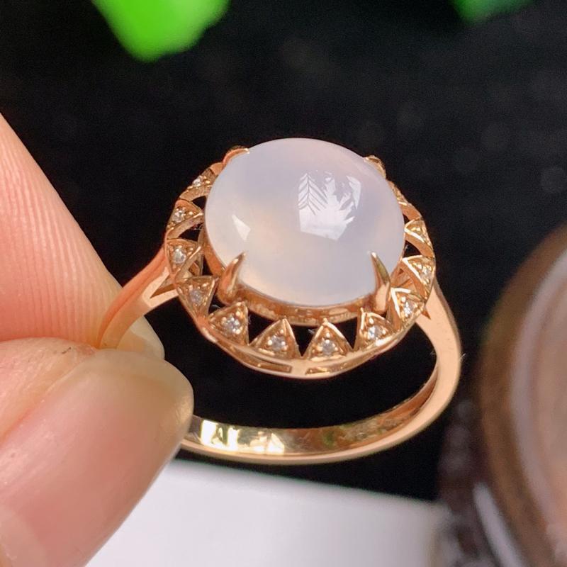 缅甸a货翡翠,18k金伴钻水润戒指玉质细腻,圆润光滑,底子干净清爽,佩戴效果更佳,整体12.7_1