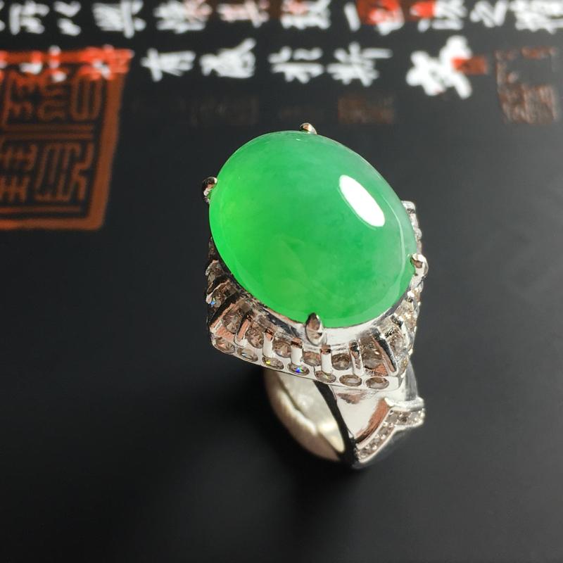 冰糯种阳绿戒面 铜托 裸石尺寸17-14-5毫米 水润饱满 翠色亮丽