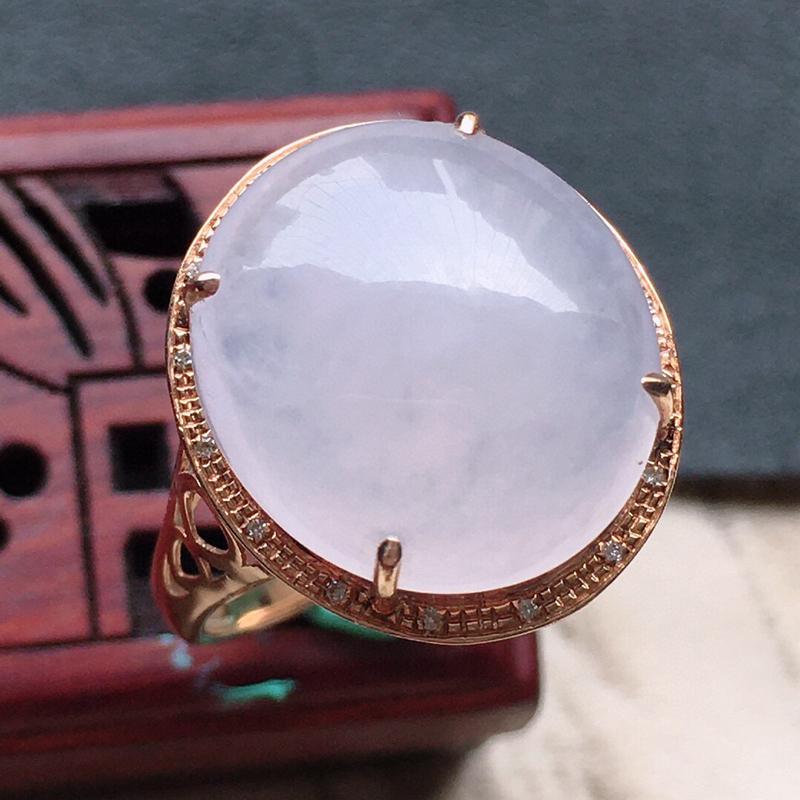 缅甸翡翠16圈口18k金伴钻镶嵌蛋面戒指,自然光实拍,玉质莹润,佩戴佳品,内径:16.5mm(可免费