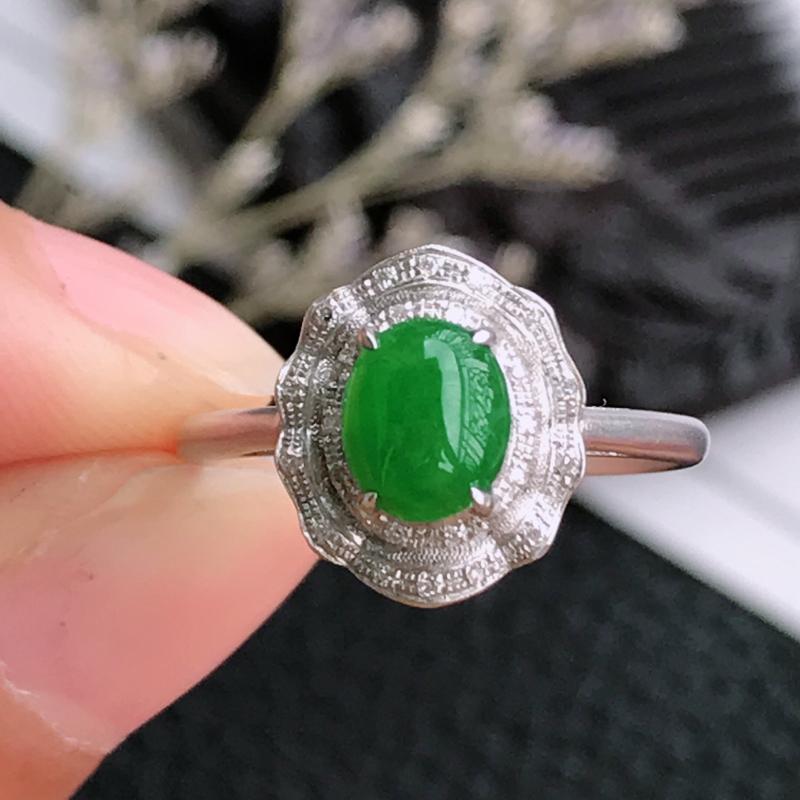 天然翡翠A货镶嵌18k金伴钻福气戒指,内径尺寸:17.4mm,含金尺寸:11.6*10*6mm,裸石