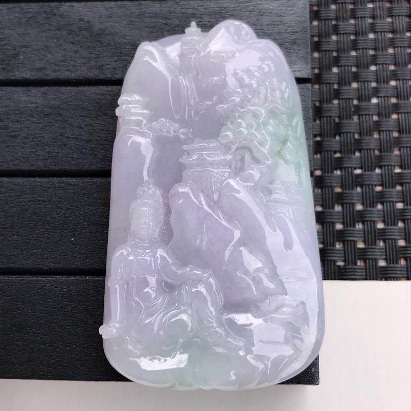 翡翠A货 糯种水润紫罗兰翡翠观音吊坠 尺寸70.2/40.5/10.4