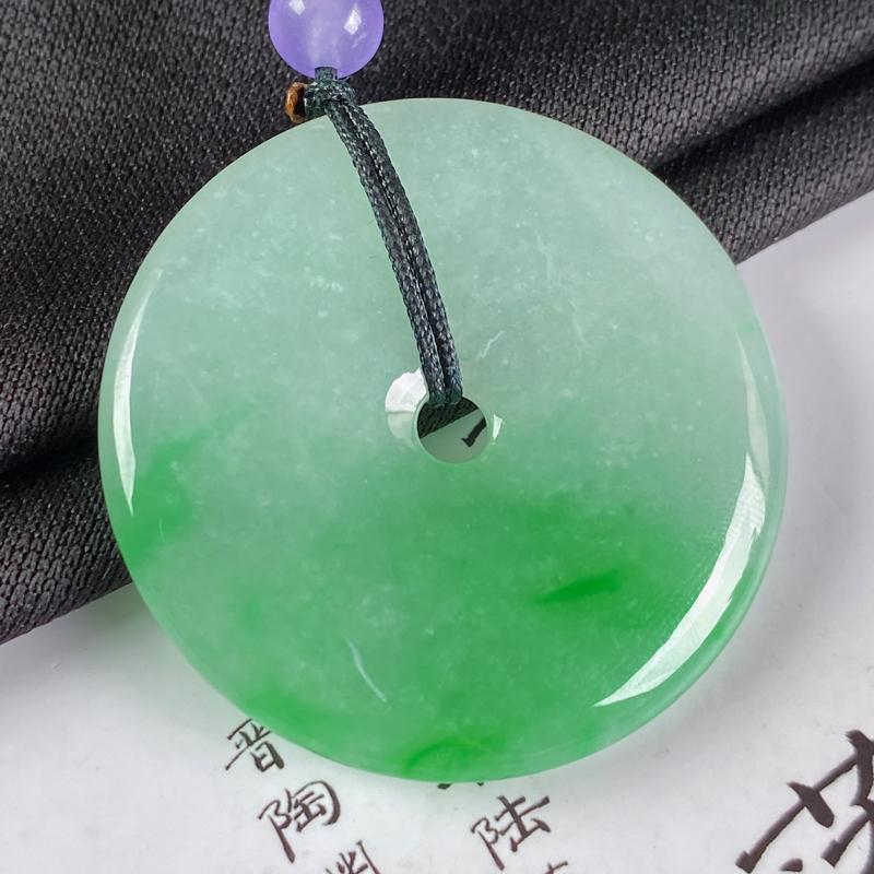 【缅甸a货翡翠,水润阳绿平安扣吊坠,玉质细腻,圆润饱满,有种有色,佩戴效果更佳,顶珠为装饰】图8