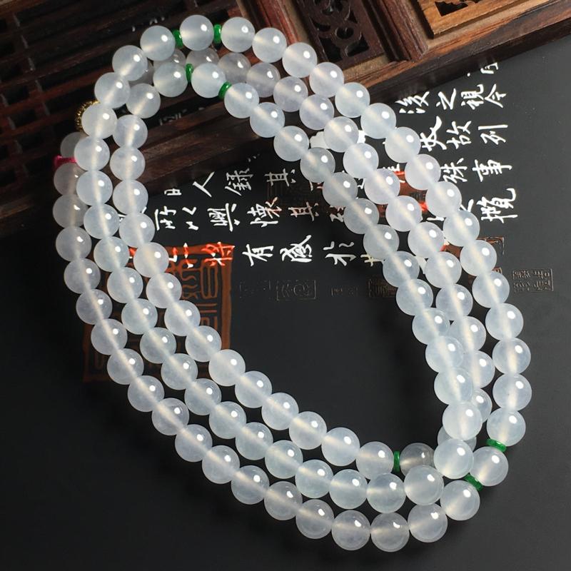 冰种佛珠项链 佛珠尺寸6.8毫米 冰透亮丽  精致