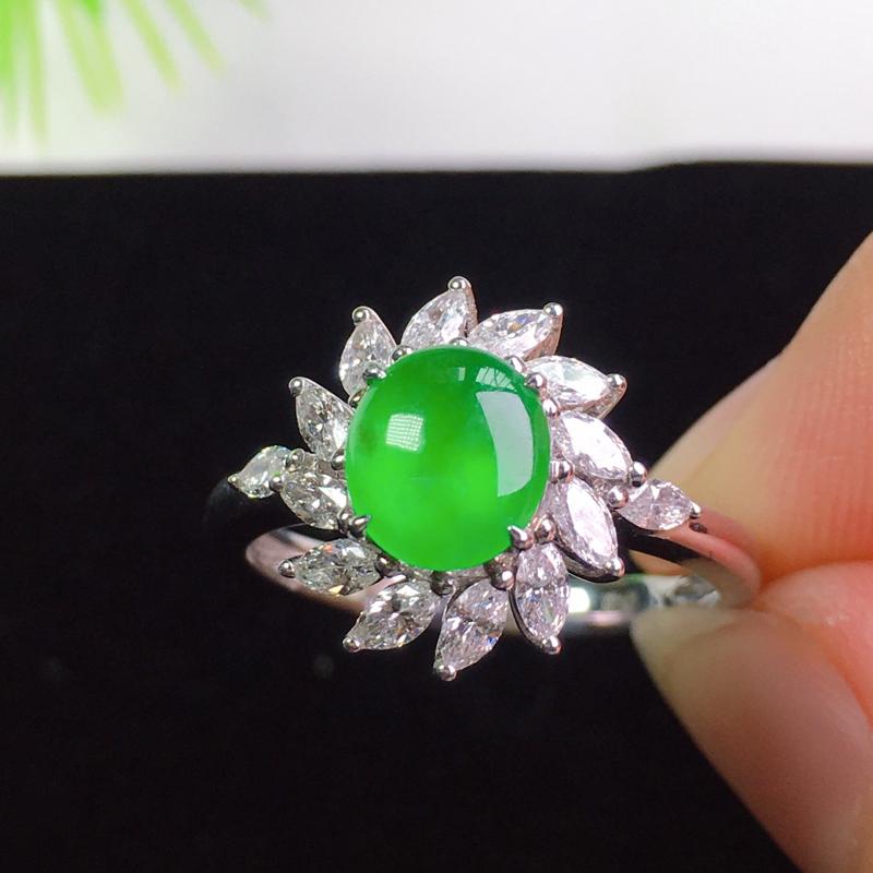 冰阳绿戒指,种色俱佳,时尚精美!裸石:6.8*6.2*2.2
