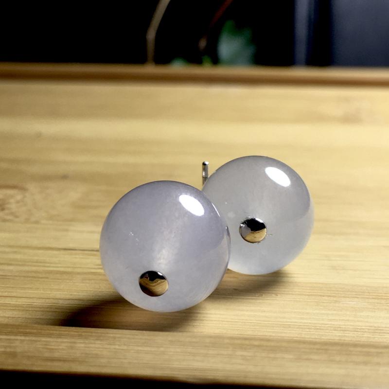 白冰珠子耳坠, 直径13.8mm,11.32g, 18K金伴天然钻石镶嵌,