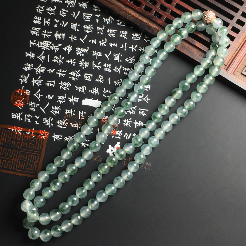 冰种带色佛珠项链 直径6.5毫米 种好冰透 飘花灵动 佩戴精美
