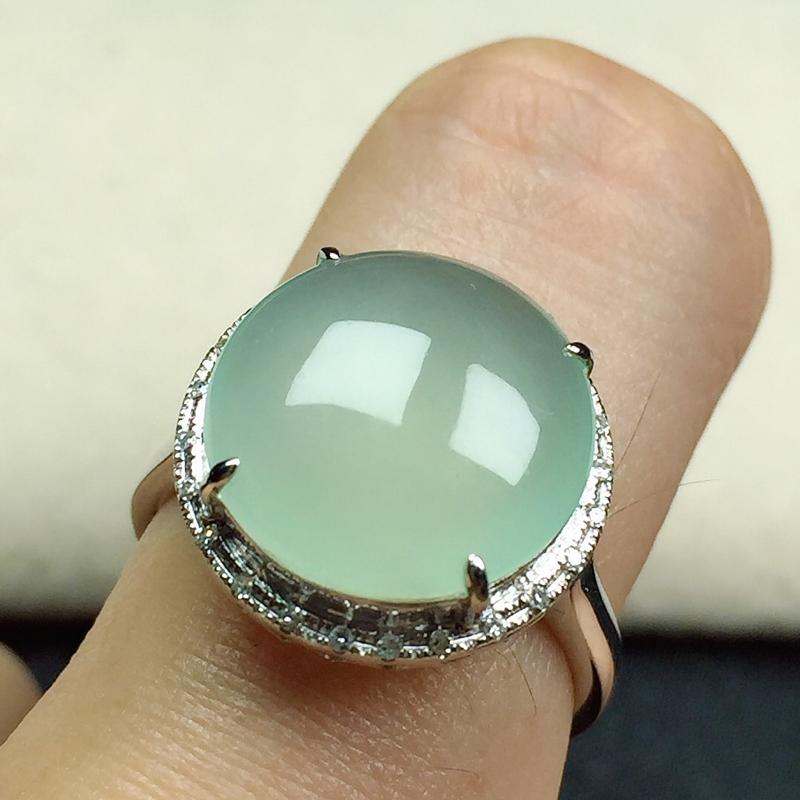 冰润翡翠戒指,种水好,玉质细腻光滑,水润饱满,指圈:12#,尺寸:12.6-12.4-5