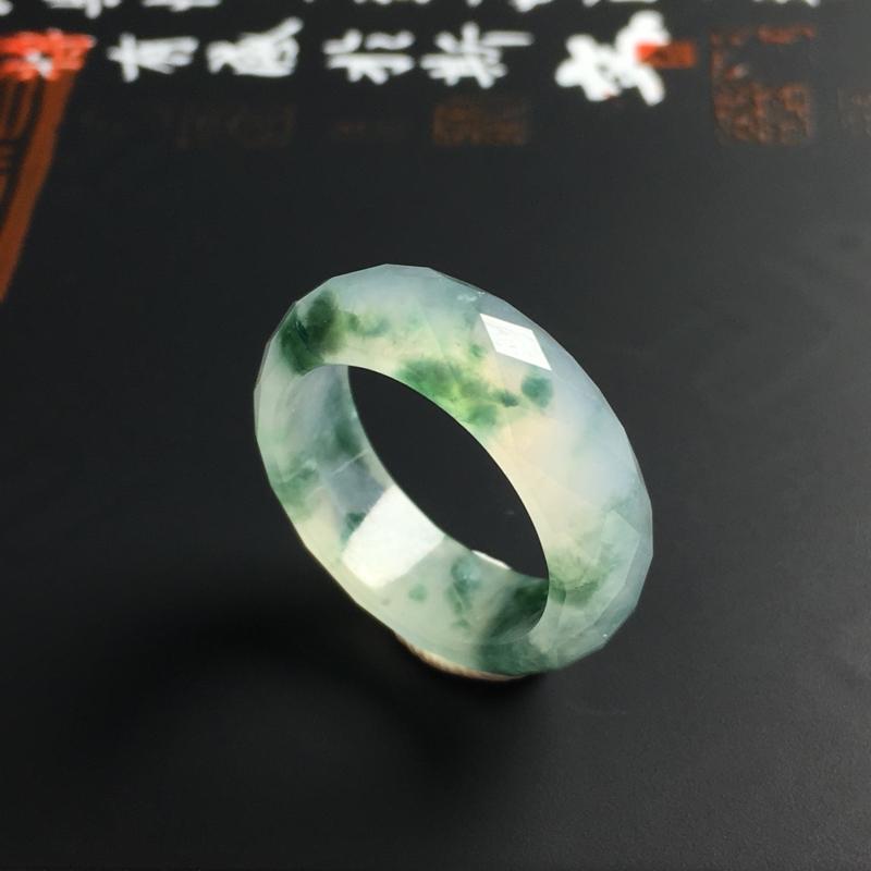 冰糯种飘花指环 内径16.8 宽6 厚3毫米 水润通透 飘花灵动