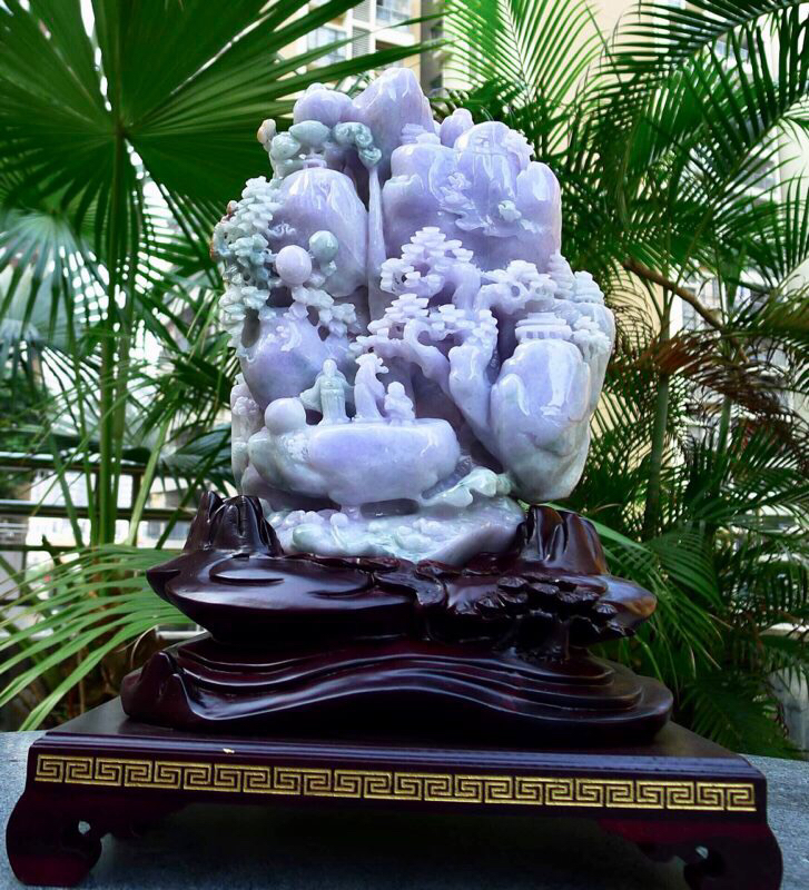 缅甸天然翡翠A货 精美 老坑 糯春带彩 山水摆件 高山流水 雕刻精美线条流畅种水好 层次分明丰富多彩