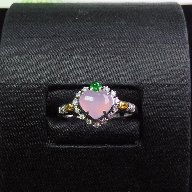 (下单有礼)冰紫爱心戒指,个性精美,清爽无暇!裸石:7*6.5*2.3