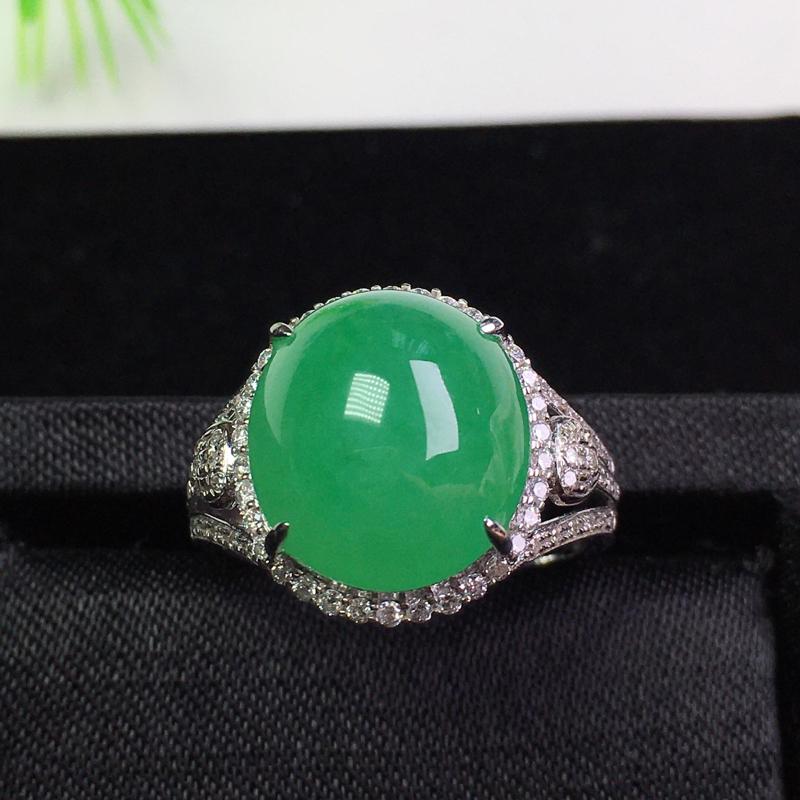 【批发价2.1万元】*(下单有礼)满绿戒指,冰润色艳,种老饱满!裸石:13.2*11.7*5.8