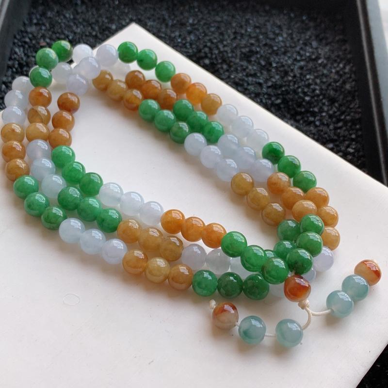 🙏缅甸天然翡翠A货   108颗冰润三彩圆珠项链,克重65.37,尺寸:7,寓意峰回路转,圆圆满满,