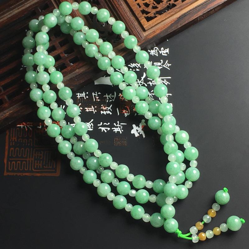 糯种带色佛珠项链 直径7毫米 色泽艳丽 玉质细腻 佩戴精美