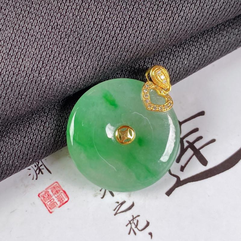 【A货翡翠-种好飘绿平安扣吊坠,尺寸-裸石21*4.5mm整体26.7*21*4.5mm】图3
