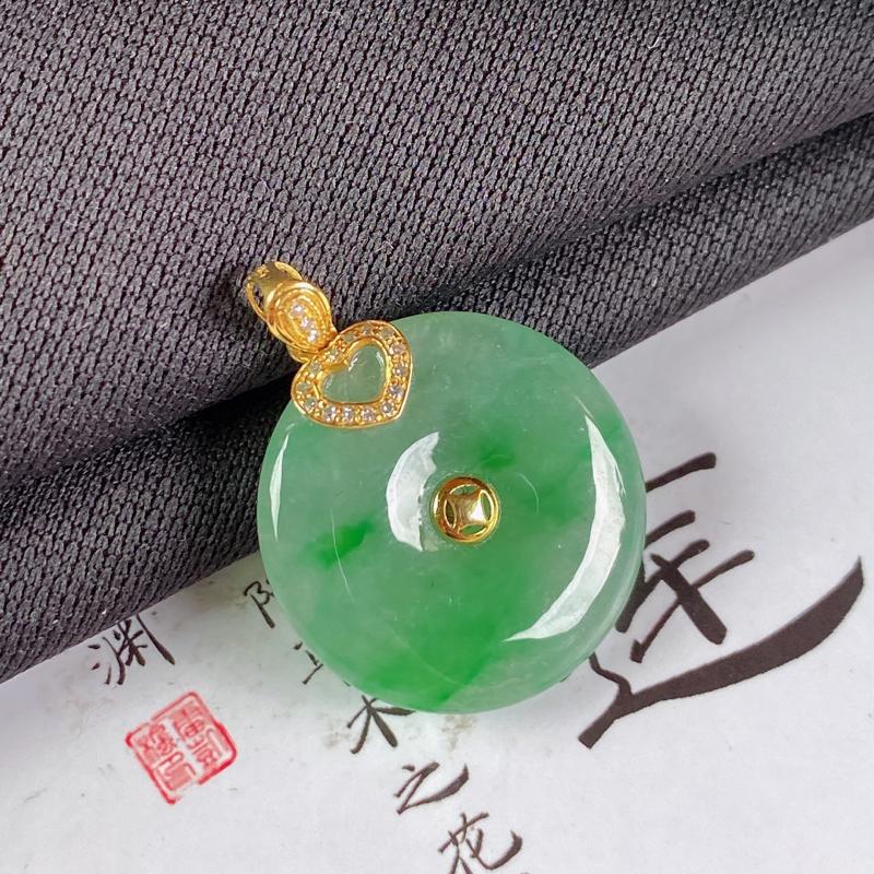 【A货翡翠-种好飘绿平安扣吊坠,尺寸-裸石21*4.5mm整体26.7*21*4.5mm】图7