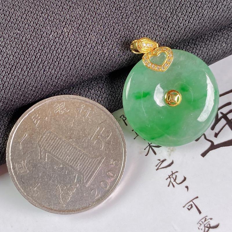 【A货翡翠-种好飘绿平安扣吊坠,尺寸-裸石21*4.5mm整体26.7*21*4.5mm】图8