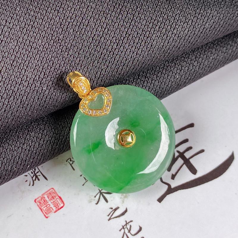 【A货翡翠-种好飘绿平安扣吊坠,尺寸-裸石21*4.5mm整体26.7*21*4.5mm】图5