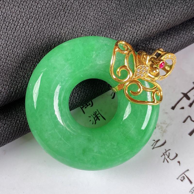 【A货翡翠-种好满绿18K金伴钻平安环吊坠,尺寸-裸石33.3*10.5mm整体42.8*33.3*10.5mm】图5