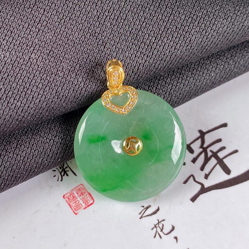 【A货翡翠-种好飘绿平安扣吊坠,尺寸-裸石21*4.5mm整体26.7*21*4.5mm】图2