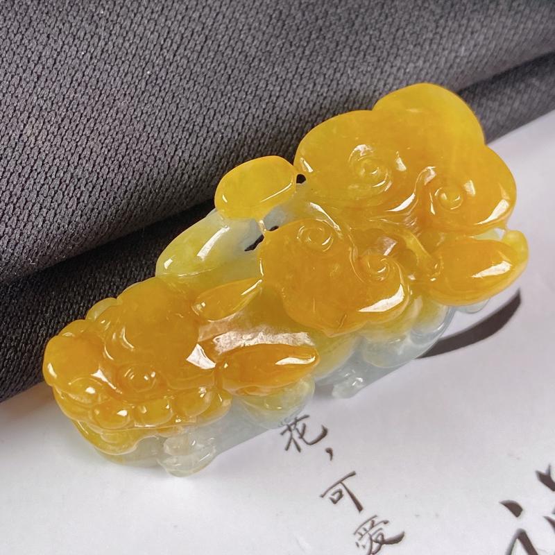 A货翡翠-种好黄翡招财貔貅吊坠,尺寸-43.1*15.3*17.5mm