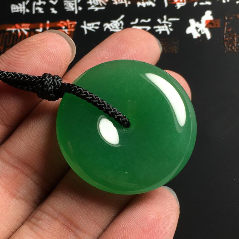【冰糯种满绿平安扣吊坠 尺寸32-6.5毫米 玉质水润 色浓艳丽】图5