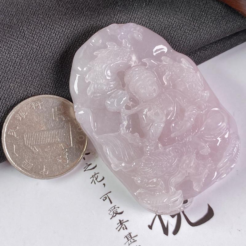 【A货翡翠-种好紫罗兰祥龙观音吊坠,尺寸-55.6*37.9*13.5mm】图8