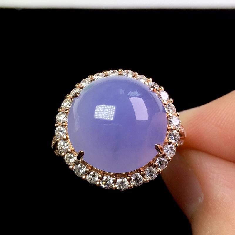 (下单有礼)冰起胶紫罗兰戒指,色艳浓郁,种老饱满,清爽无暇!裸石:14.2*14*6.2