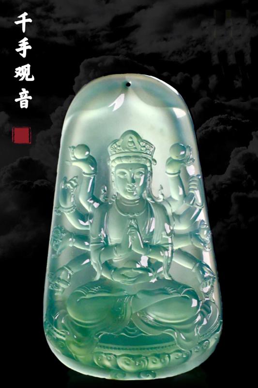 【千手观音】, 千眼观世音菩萨, 出自玉雕大师加龙手笔, 作品74-44-8.5mm,52.15g,