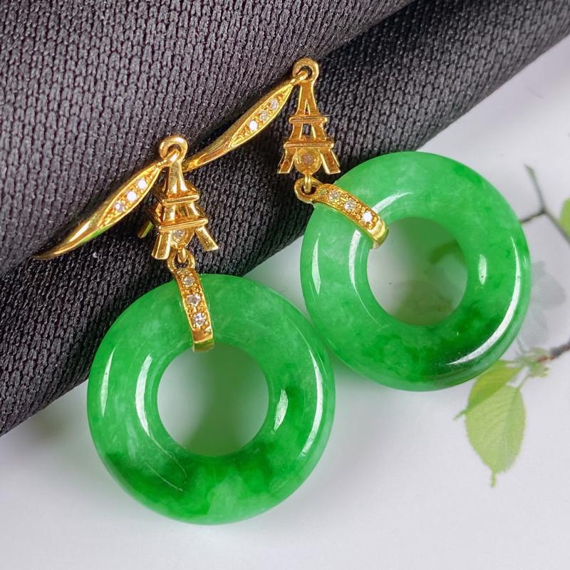 A货翡翠-种好满绿18K金伴钻平安环耳坠,尺寸-裸石17.2*4.1mm整体36.9*17.2*4.