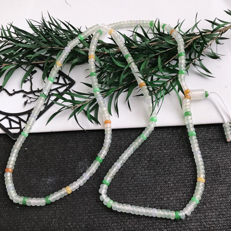 翡翠A货三彩项链 直径尺寸4mm