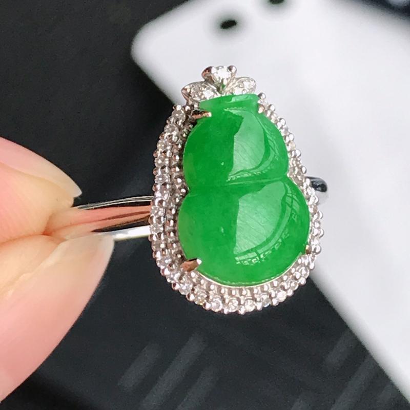 翡翠A货镶嵌18k金伴钻吸财葫芦戒指,内径尺寸:18.2mm,含金尺寸:15.4*11.4*6.3m
