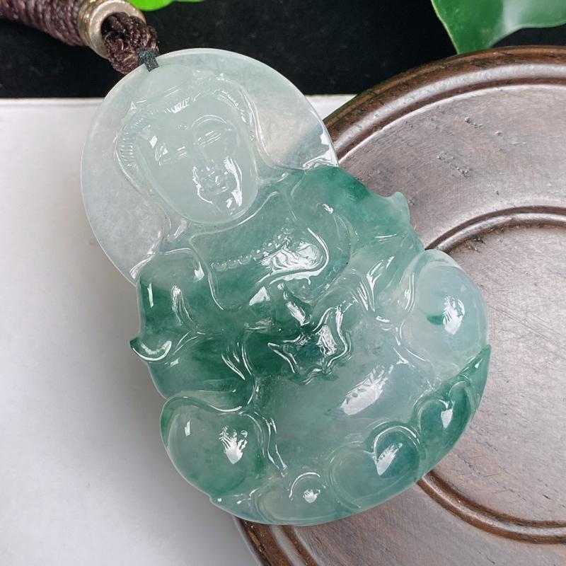 A货翡翠-种好冰飘花观音菩萨吊坠,尺寸-55.4*38.2*8.2mm