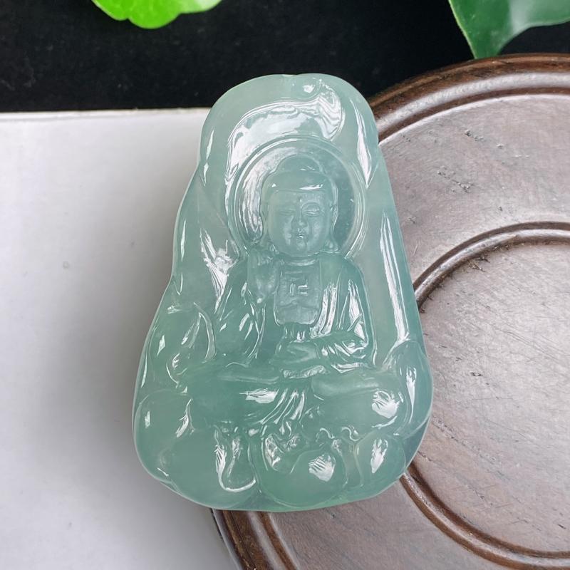 A货翡翠-种好冰润大日如来吊坠,尺寸-46.3*31.3*5.3mm