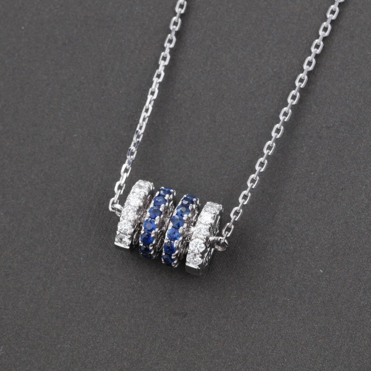 【精品秒杀】【项链】18k金+蓝宝石+钻石 宝石颜色纯正 主石:0.45ct/30p  货重:4.5