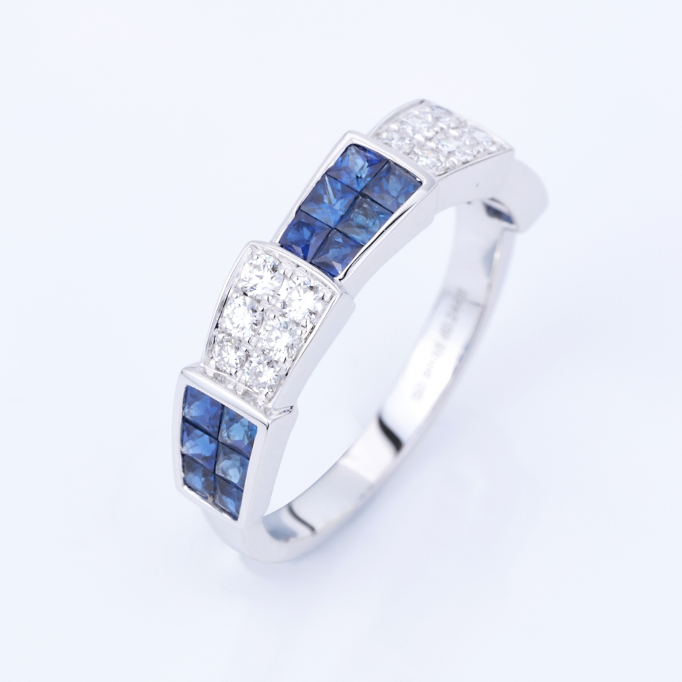 【精品秒杀】【戒指】18k金+蓝宝石+钻石 宝石颜色纯正 主石:0.98ct/18p  货重:3.2