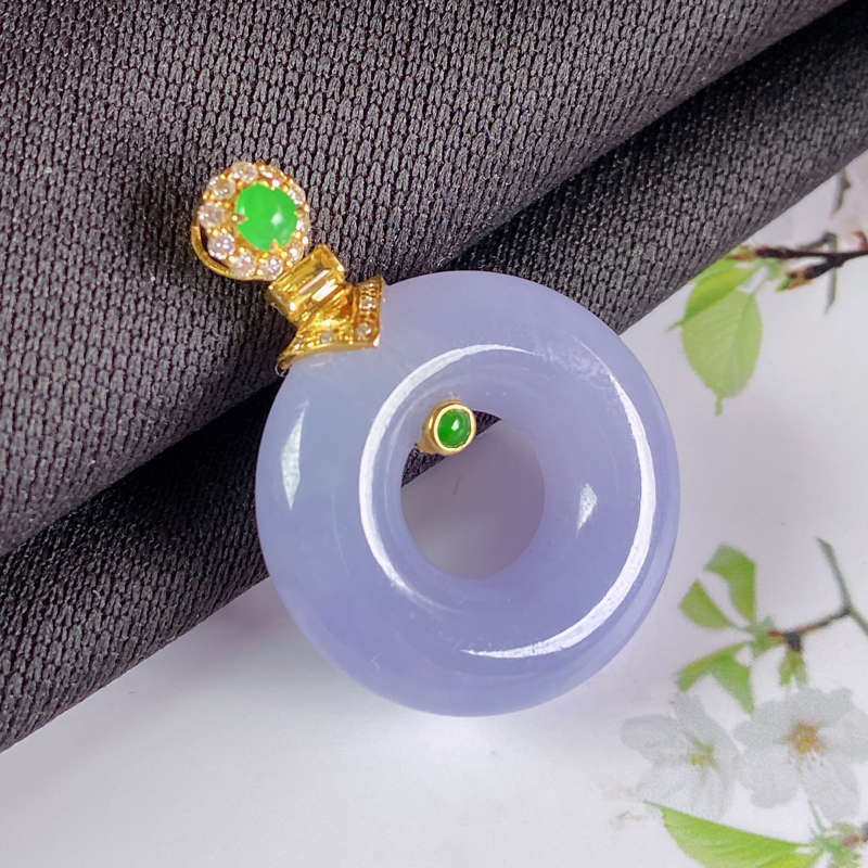 A货翡翠-种好紫罗兰18K金伴钻平安环吊坠,尺寸-裸石21.5*6.6mm整体30.2*21.5*6
