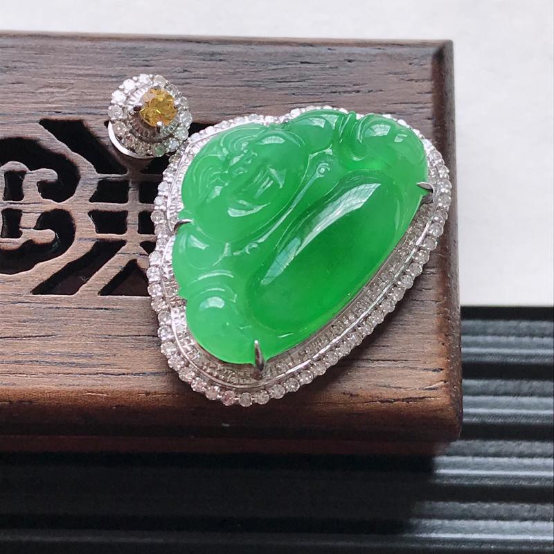 天然翡翠A货18K金镶嵌伴钻糯化种满绿精美佛公吊坠,含金尺寸24.7-24.4-8.6mm,裸石尺寸