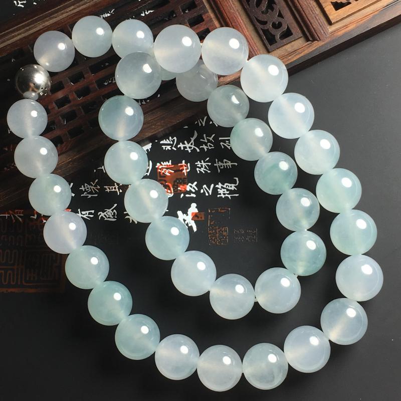 冰种晴底佛珠项链 佛珠直径取大15毫米 小13毫米 水润通透 底色亮丽