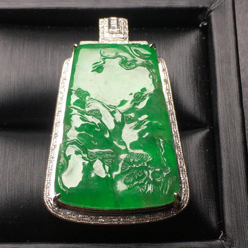 阳绿山水翡翠吊坠,料子细腻,饱满圆润,性价比高,裸石尺寸:33.7*23.2*3.5整体尺寸:44.