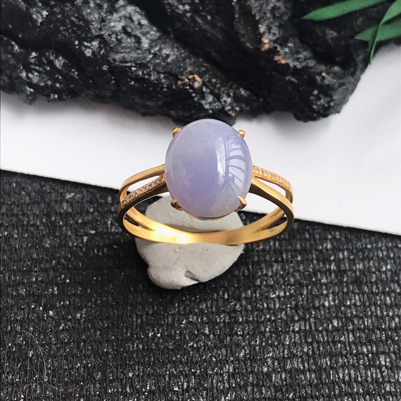 翡翠A货紫罗兰18k金伴钻福气戒指 尺寸10.4*8.3*3mm 包金尺寸10.4*8.3*5.8m