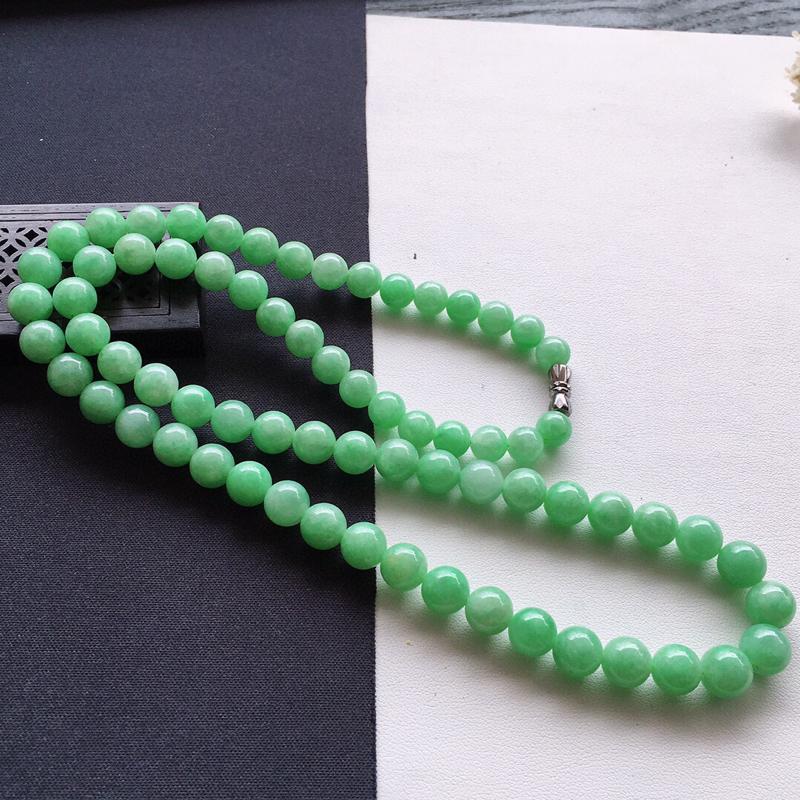 精品翡翠项链,雕工精美,玉质莹润,尺寸:链长:540MM,玉:8.6MM,总质量:61.8g