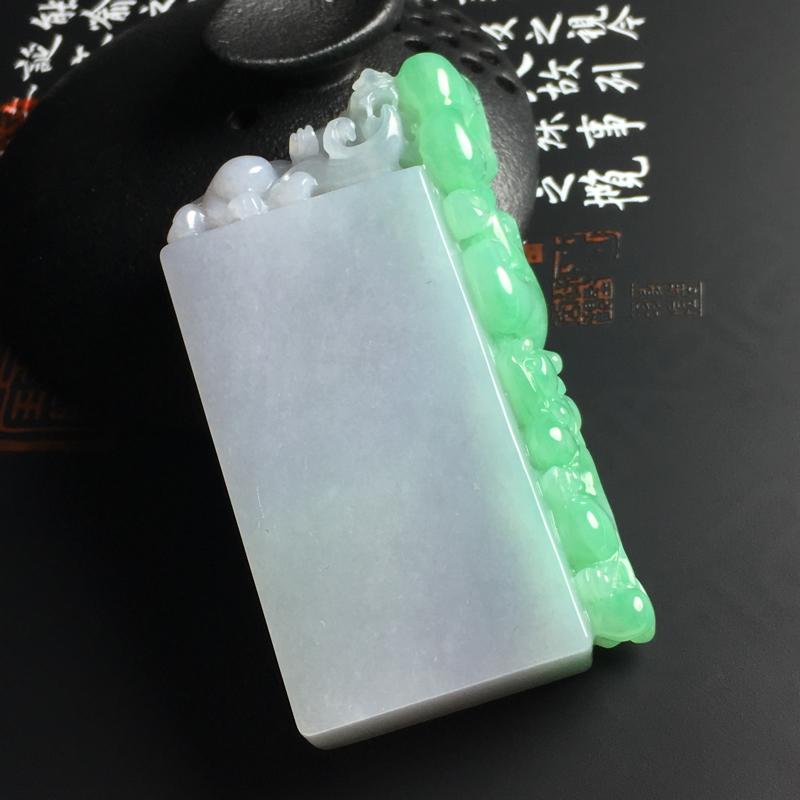 糯种春带彩貔貅印章  尺寸66-33-13毫米 玉质水润 色彩亮丽 雕工精湛