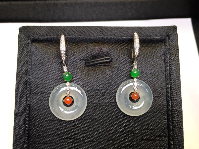 一对冰种平安扣耳坠,完美起光,底庄细腻,18K金南非真钻镶嵌,性价比高,推荐,尺寸36.5*16.5