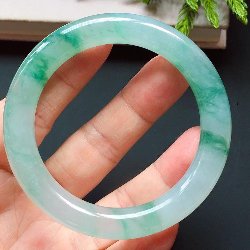 圆条51.5mm,飘蓝花圆条手镯,清新脱俗,灵动飘逸,晶莹剔透,起荧光,古典婉约!