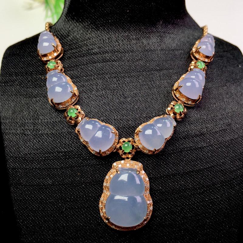 (下单有礼)冰起胶紫底葫芦项链,清新甜美,种老细腻!裸石:14.5*11.2*3