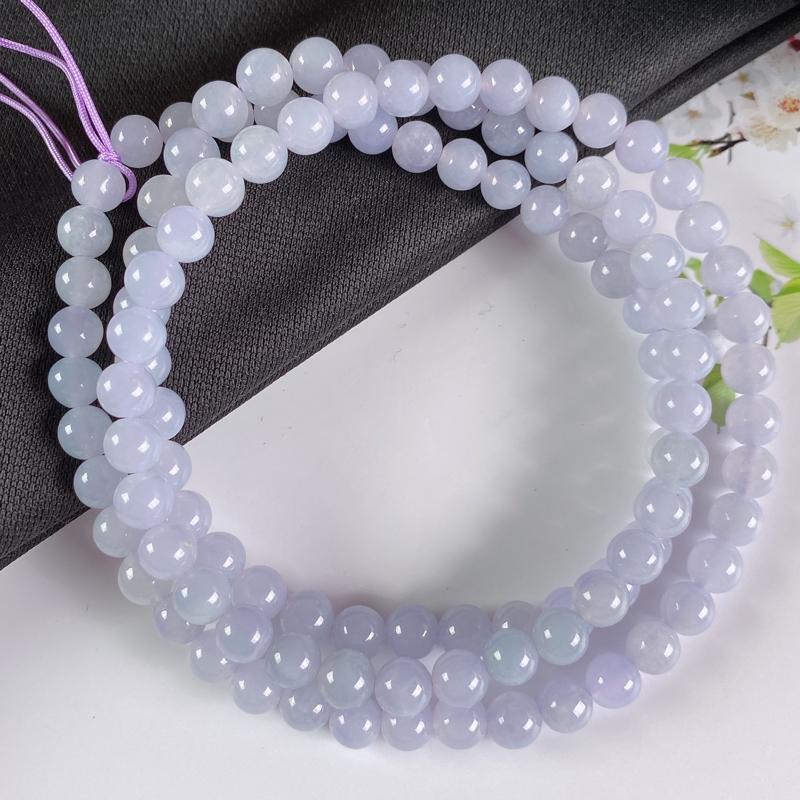 A货翡翠-种好紫罗兰圆珠项链,尺寸-6.6mm。