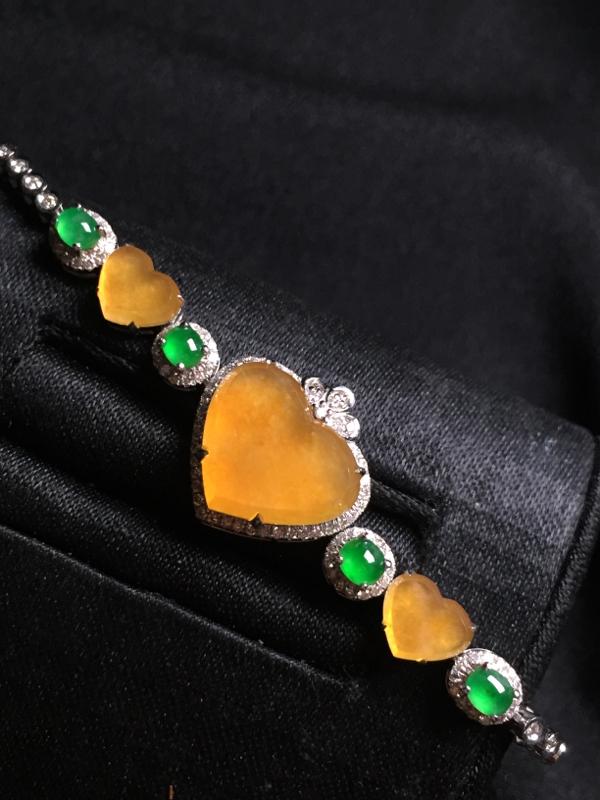 黄翡️手链,18k真金真钻镶嵌,完美,种水超好,玉质细腻
