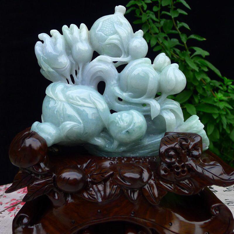 (富贵荣华)翡翠老坑水润浅绿福禄寿,大寿桃,石榴,佛手瓜摆件 裸石尺寸170*190*53.8mm
