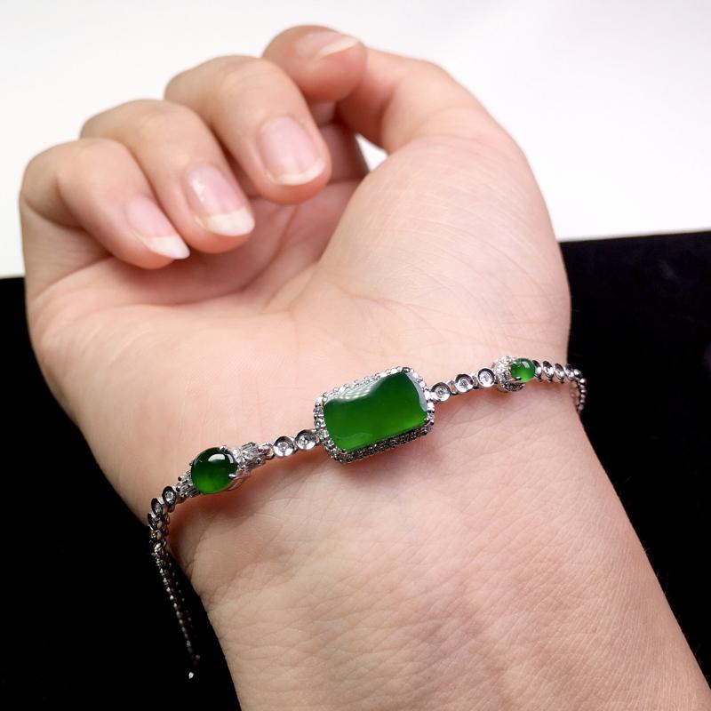 (下单有礼)满绿手链,色艳浓郁,精美个性!裸石:11.5*7*2