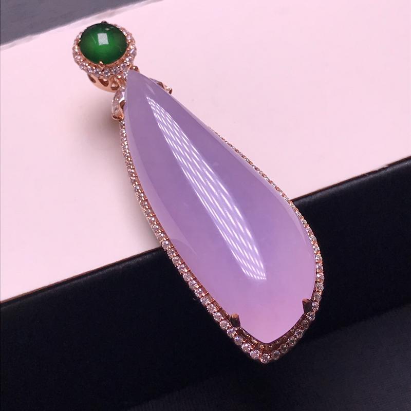 天然翡翠A货,18K金伴钻镶嵌,粉紫吊坠,料子细腻,色泽鲜艳,性价比超高